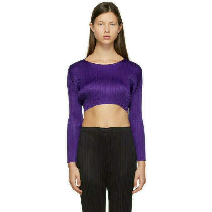 Pleats Please Issey Miyake Purple Monthly Colors December Cropped Sweater