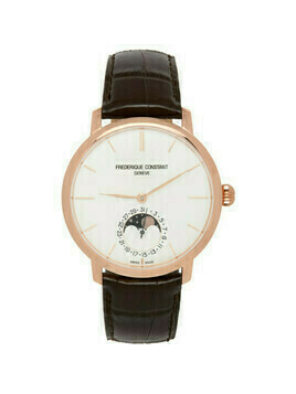 Frederique Constant Gold and Brown Slimline Moonphase Watch