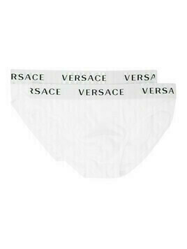 Versace Underwear Two-Pack White Logo Band Briefs