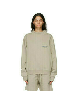 Essentials Beige Mock Neck Pullover Sweatshirt