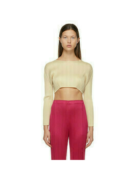 Pleats Please Issey Miyake Off-White Monthly Colors December Cropped Sweater