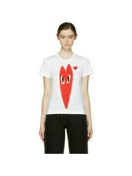 Comme des Garcons Play White Hearts T-Shirt