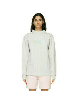 Alexander Wang Grey Wide Neck Puff Logo Long Sleeve T-Shirt