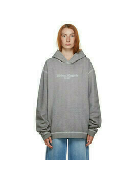 Maison Margiela Grey Embroidered Logo Hoodie