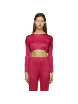 Pleats Please Issey Miyake Pink Monthly Colors December Cropped Sweater