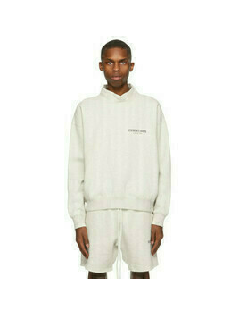 Essentials Off-White Mock Neck Pullover Sweatshirt