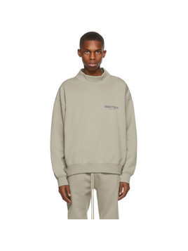 Essentials Khaki Logo Mock Neck Sweatshirt