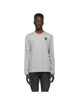 Comme des Garcons Play Grey Layered Double Heart Long Sleeve T-Shirt