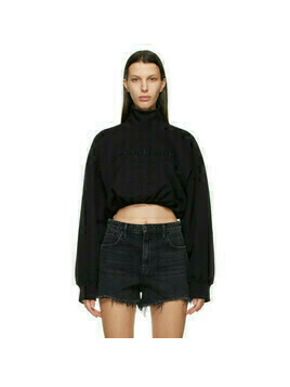 Alexander Wang Black Mock Cropped Turtleneck