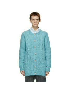 Gucci Blue Mohair GG Cardigan