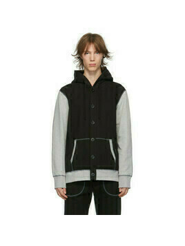 Junya Watanabe Black and Grey Reigning Champ Edition Two-Tone Hoodie