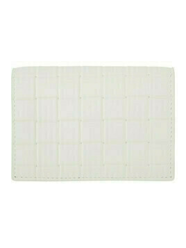 Bottega Veneta White Printed Grid Flap Card Holder