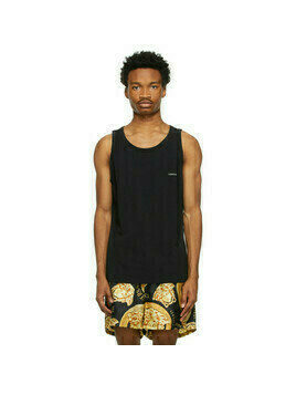 Versace Underwear Black Logo Tank Top