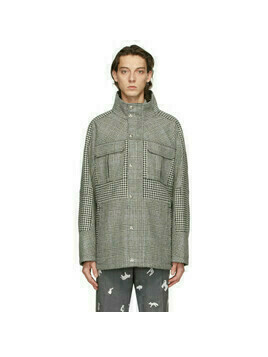 Thom Browne Black and White Prince Of Wales Hunting Tweed Nautical Coat