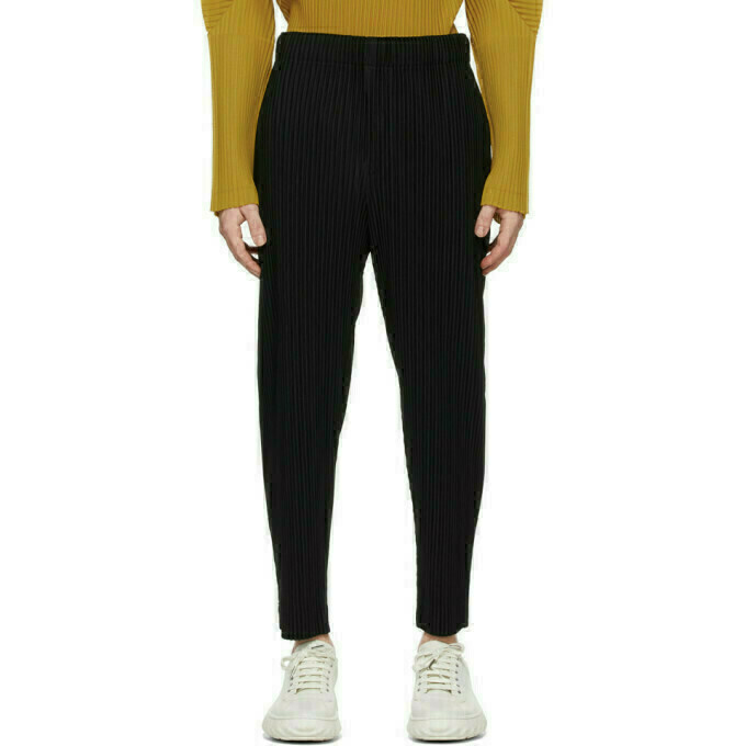 Homme Plisse Issey Miyake Black Pleats Bottoms 3 Tapered Trousers