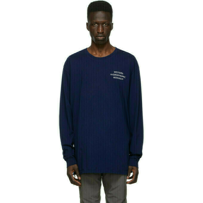 Western Hydrodynamic Research SSENSE Exclusive Blue Uniform Long Sleeve T-Shirt
