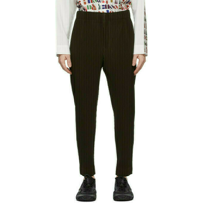 Homme Plisse Issey Miyake Brown Pleats Bottoms 3 Tapered Trousers