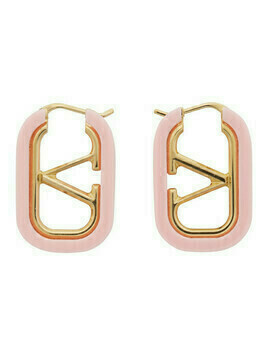 Valentino Gold and Pink Valentino Garavani VLogo Hoop Earrings