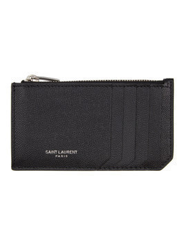 Saint Laurent Black Grain De Poudre Fragment Card Holder