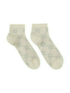 Gucci Beige and Silver Lame Short GG Socks