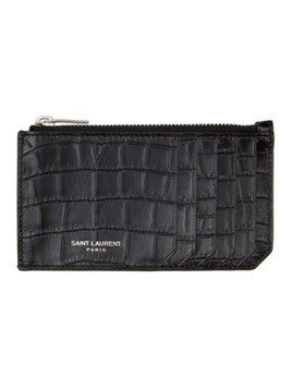 Saint Laurent Black and Silver Croc Fragment Card Holder