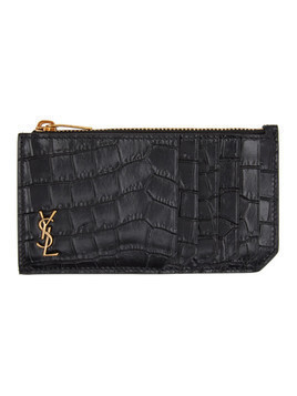 Saint Laurent Black and Gold Croc Fragment Card Holder