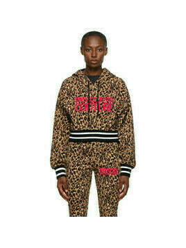 Versace Jeans Couture Beige and Black Leopard Logo Hoodie