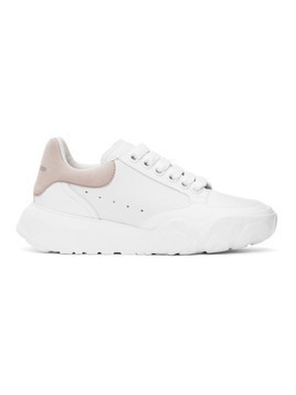 Alexander McQueen White and Pink Oversized Court Sneakers