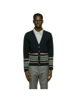 Thom Browne Navy Mohair Jacquard Cricket Stripe Cardigan