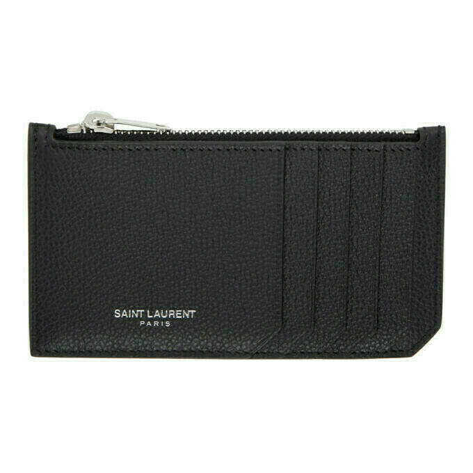 Saint Laurent Black Rive Gauche Fragment Card Holder