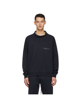 Essentials SSENSE Exclusive Navy Logo Mock Neck Sweatshirt
