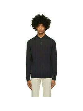 Z Zegna Navy Wool Knit Polo