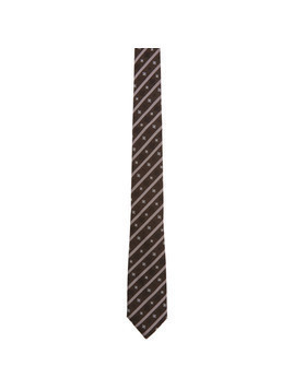 Fendi Brown Stripe Karligraphy Tie