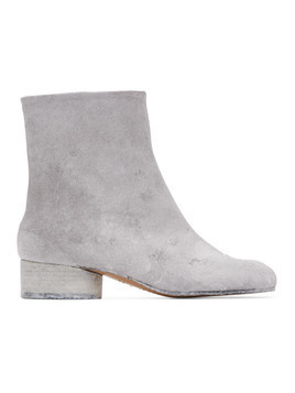 Maison Margiela SSENSE Exclusive White Painted Tabi Low Heel Boots