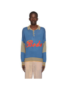 Bode Blue and Yellow Namesake Three-Button Sweater