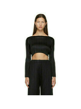 Pleats Please Issey Miyake Black Monthly Colors December Cropped Sweater