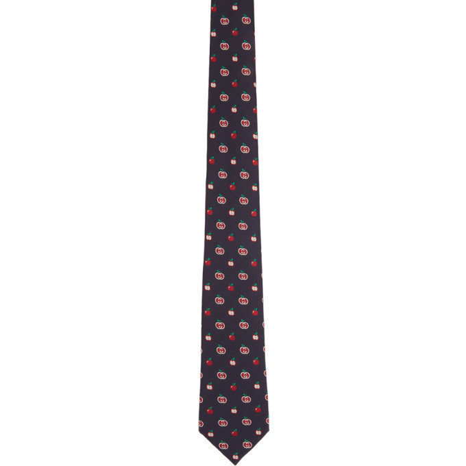 Gucci Navy and Red Interlocking G Apples Tie