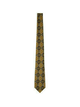 Gucci Beige and Brown Silk Interlocking G Rhombus Tie