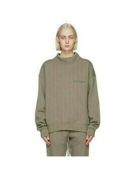 Essentials Taupe Mock Neck Logo Sweatshirt