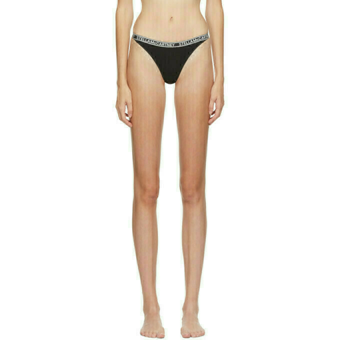 Stella McCartney Black and White Ivy Chatting Cotton Thong