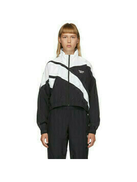 Reebok Classics Black and White Cropped Vector Track Jacket