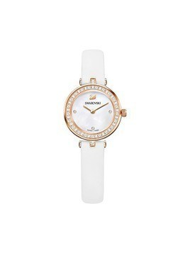 Aila Dressy Mini Watch, Leather strap, White, Rose gold tone