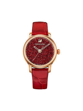 Crystalline Hours Watch, Leather strap, Red, Rose gold tone