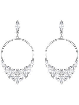 Lady Frontal Hoop Pierced Earrings, White, Rhodium plating