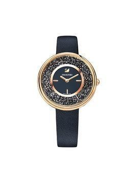 Crystalline Pure Watch, Leather strap, Black, Rose gold tone