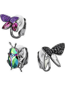 Magnetized Clip Earrings Set, Multi-colored, Black ruthenium plating