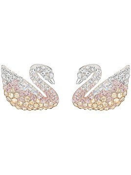 Iconic Swan Pierced Earrings, Large, Multi-colored, Rhodium Plating