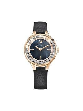 Lovely Crystals Mini Watch, Leather strap, Black, Rose gold tone