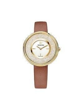 Crystalline Pure Watch, Leather strap, Brown, Gold tone
