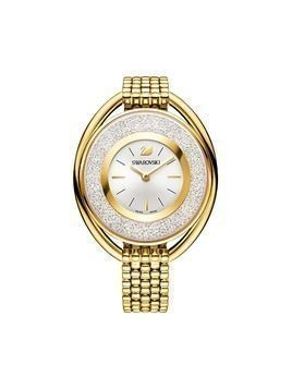 Crystalline Oval Watch, Metal bracelet, White, Gold tone